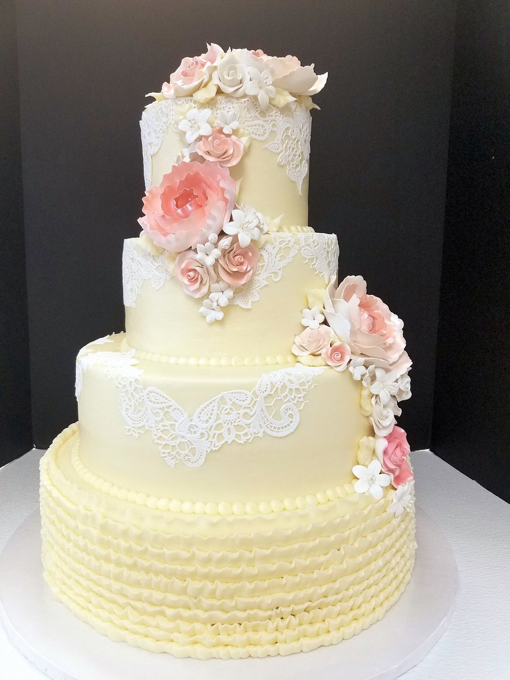 White Lace with Pink Flowers