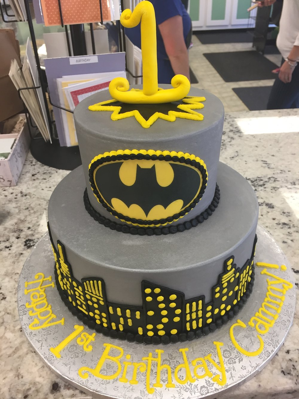 Yellow and Gray Birthday Tier Cake