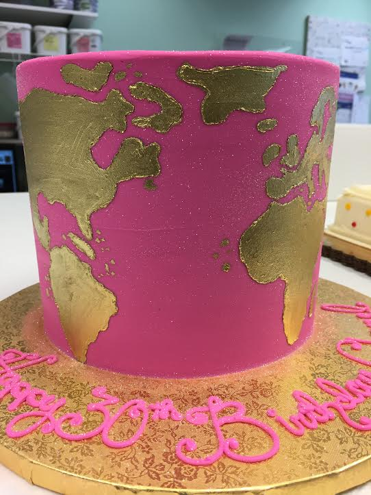 Painted Map of the World Cake