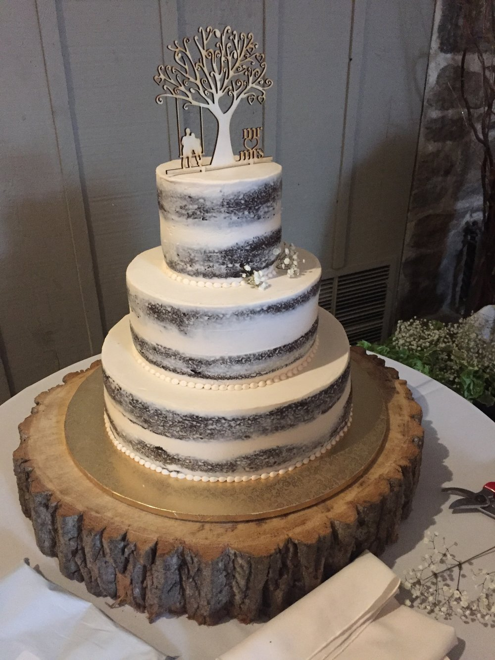 Rustic Naked Tier Wedding Cake