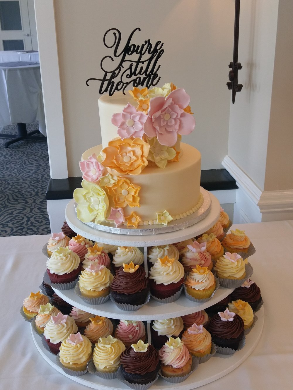 Your Still the One Wedding Cake and Cupcakes