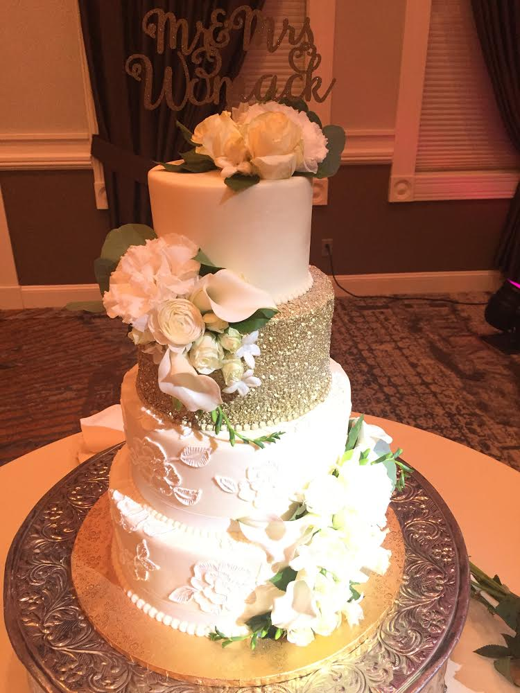Gold Sparkle and Lace Wedding Cake