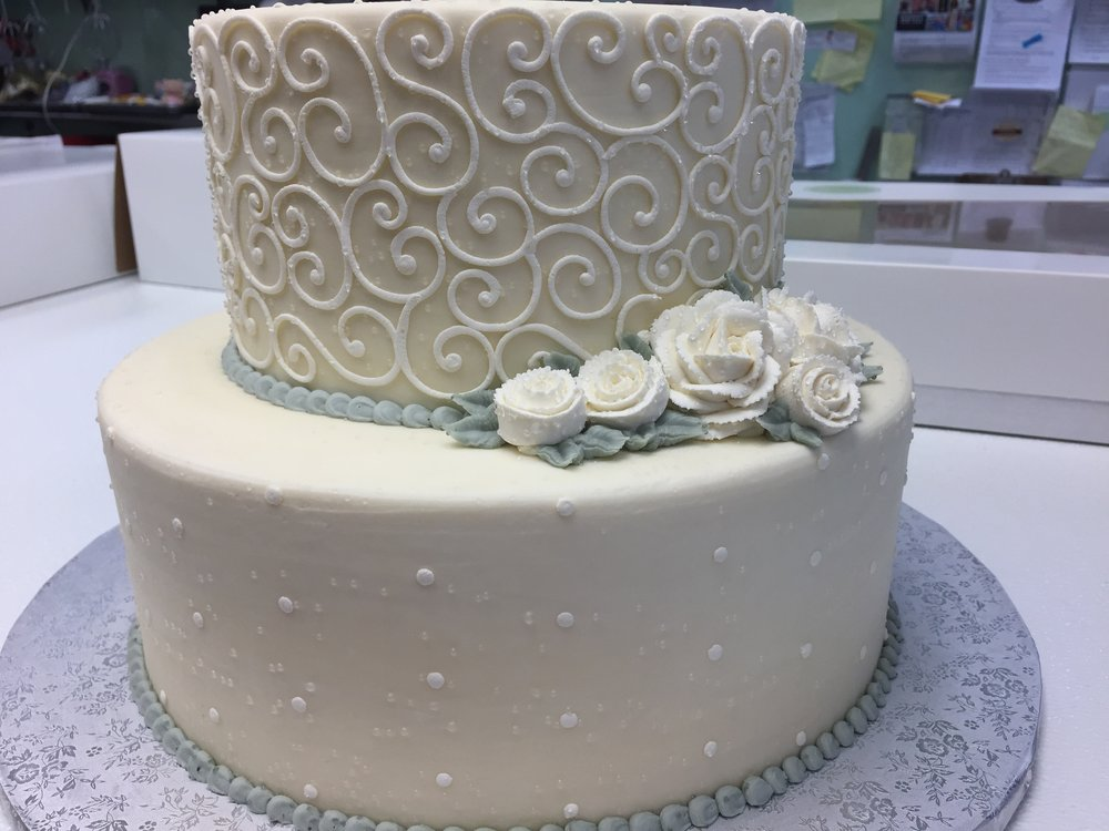 Scrollwork with Butter Cream Roses