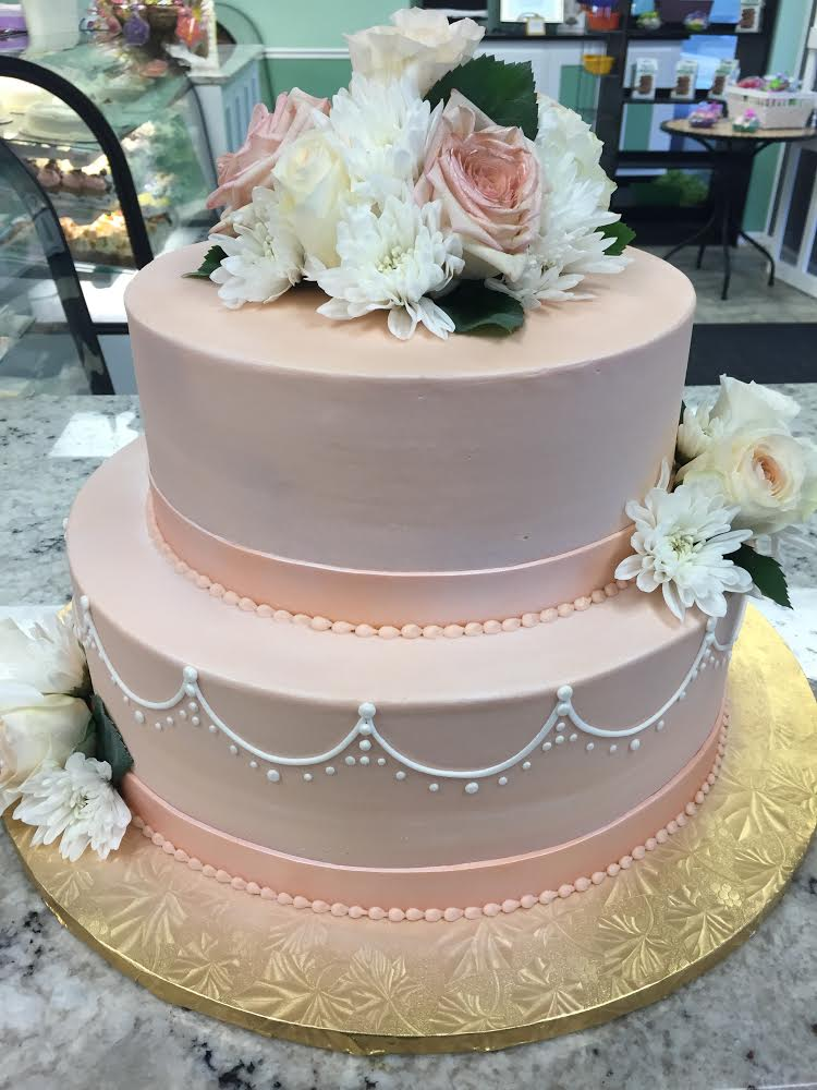 Peach Bridal Shower Cake