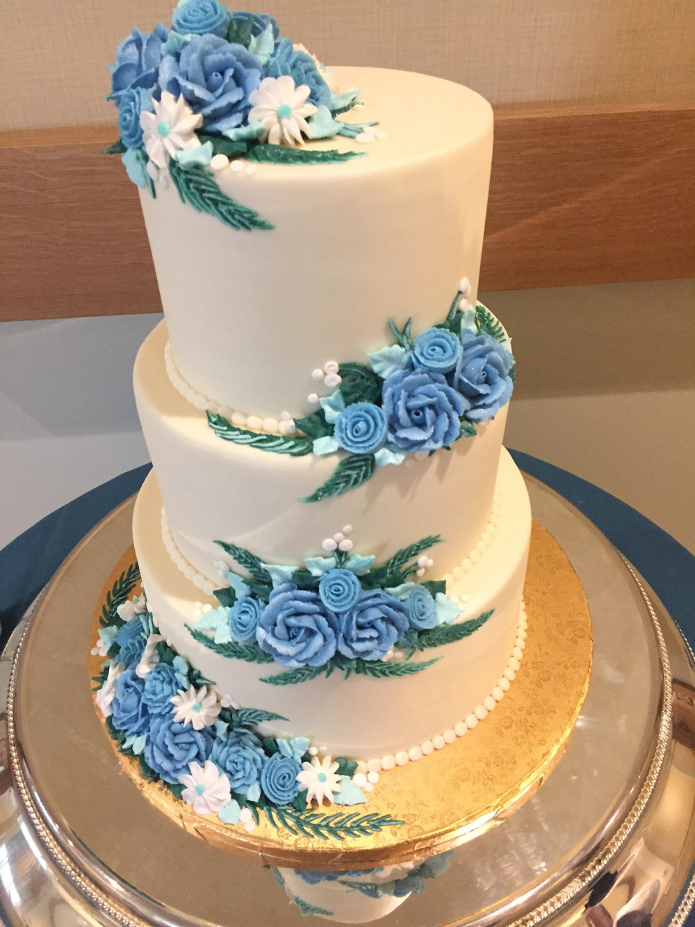 Blue Butter Cream Flowers