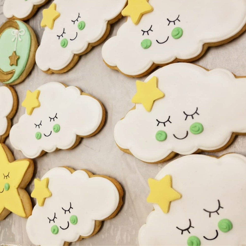 Sweet Cloud Cookies for a Baby Shower