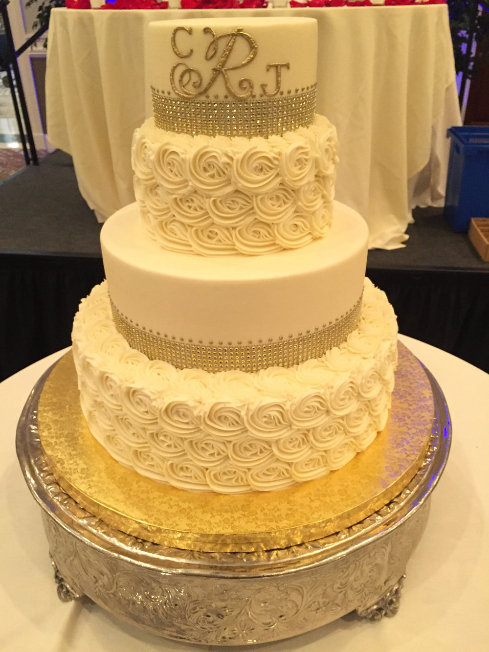 Golden Monogram 4 Tier Cake