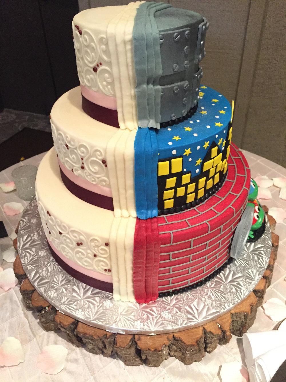 Ninja Turtles and Scroll Work for a Wedding Cake
