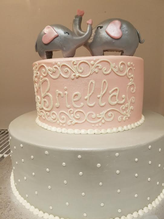 Baby and Mommy Elephant Tier Cake