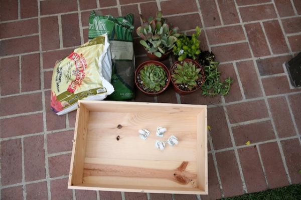 wine crate planter diy