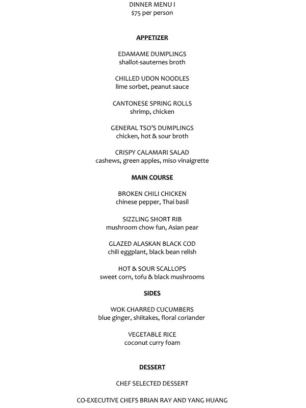 $75 PRE-FIX DINNER MENU