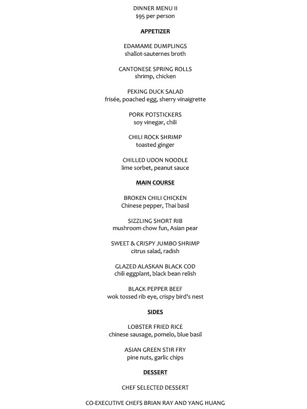 $95 PRE-FIX DINNER MENU