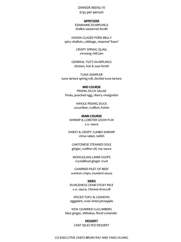 $135 PRE-FIX DINNER MENU