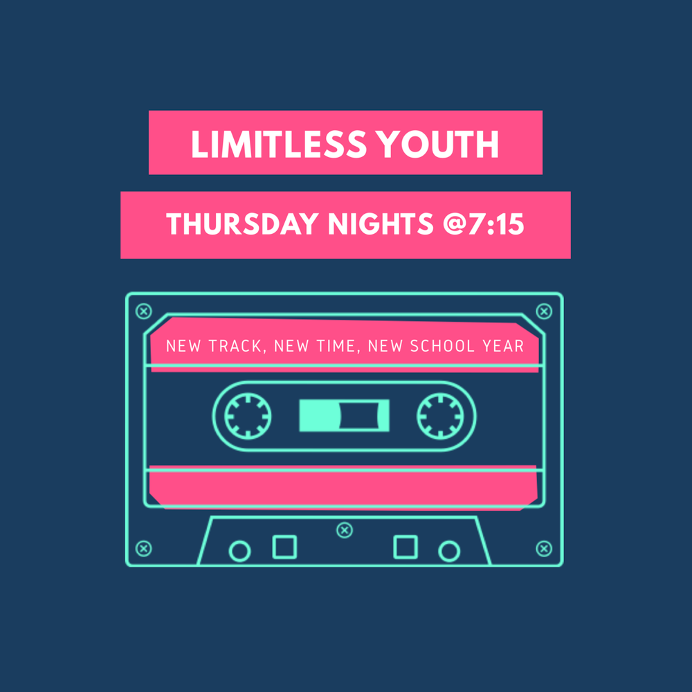 We meet every Thursday night from 7:15pm-8:30pm! Check out our Limitless Youth Page for more details!