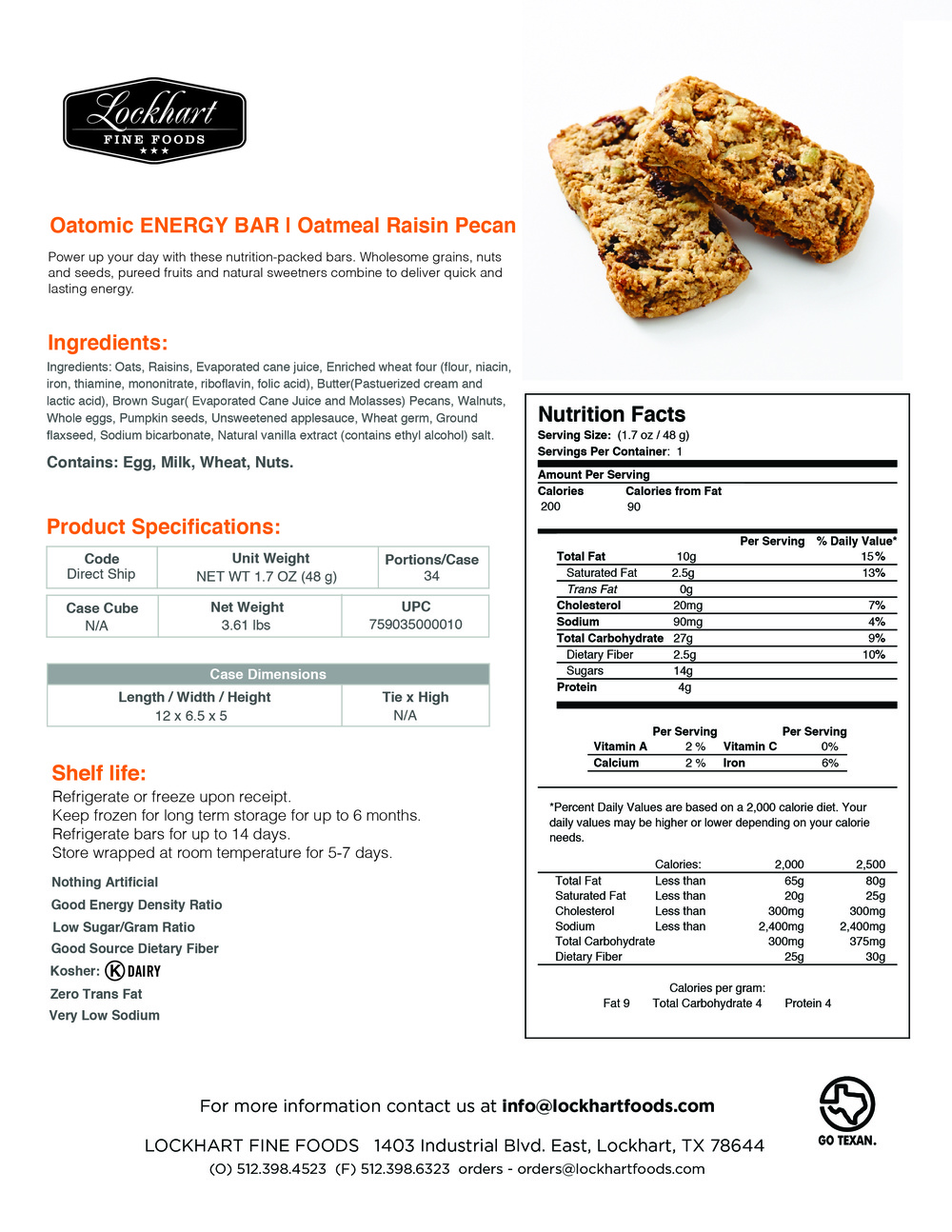 Energy Bar Oat Raisin Nut Facts
