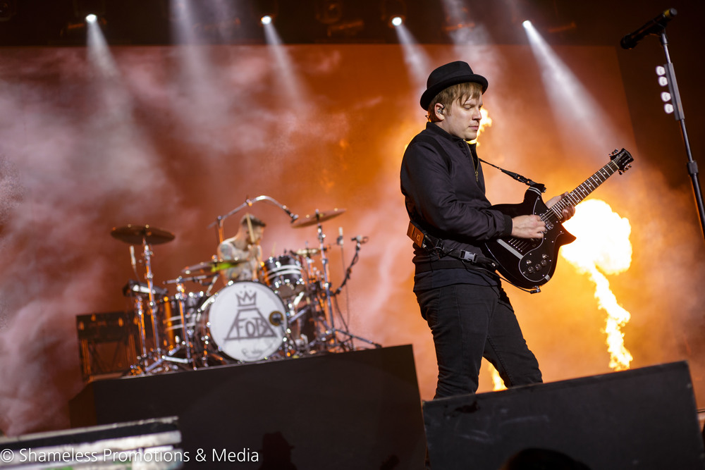 (from left to right) Andy Hurley and Patrick Stump of Fall Out Boy performing on the Boys of Zummer tour in Concord, California on August 4, 2015. Photo by Jared Stossel. © Shameless Promotions & Media.