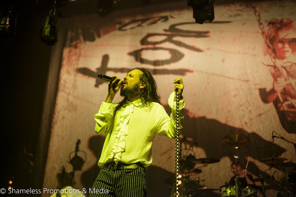 Jonathan Davis of Korn performing at The Fox Theater in Oakland, CA. Photo by Jared Stossel.