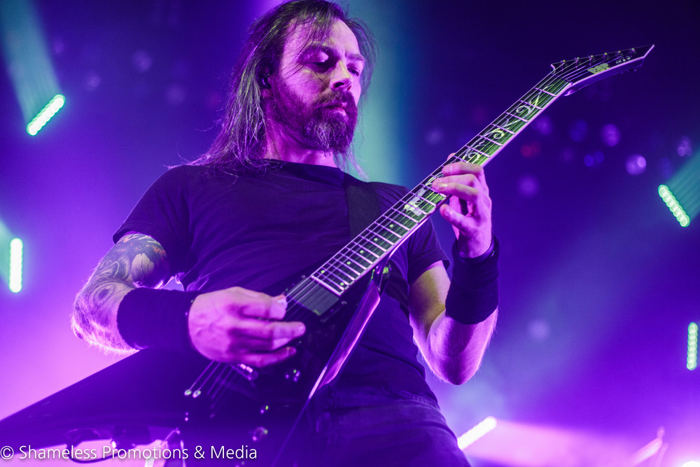 Michael Paget of Bullet For My Valentine, performing at The Warfield Theater in San Francisco, CA. February 3, 2016. Photo: Jared Stossel