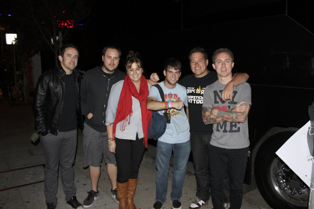 The members of Yellowcard, my friend Sami, and me, after the band donated merchandise to the Project 143 Foundation.