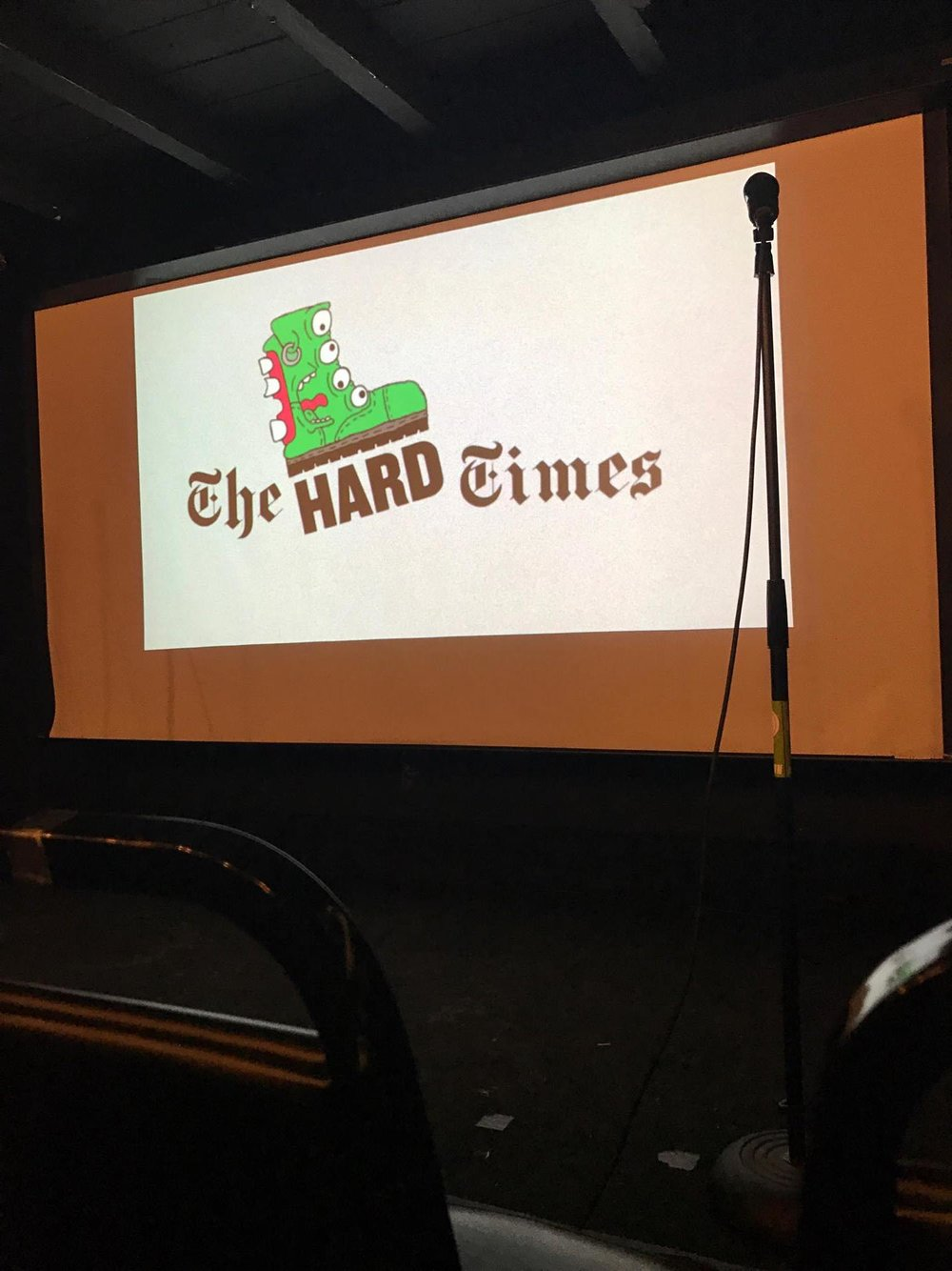 """I think a lot of comics are punks because once you turn 28...no one wants to carry an amp,"" - Dave Ross on stage at The Hard Times Live. Photo: Nick Geracie"
