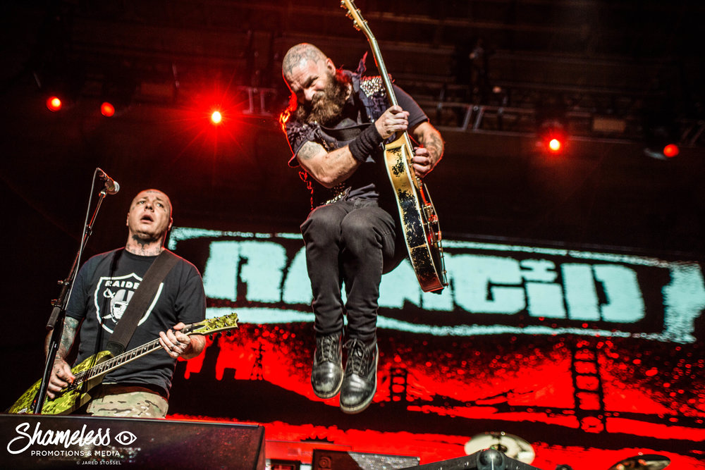 Lars Frederiksen and Tim Armstrong of Rancid performing at The Greek Theatre in Berkeley, CA. August 20th, 2017. Photo Credit: Jared Stossel