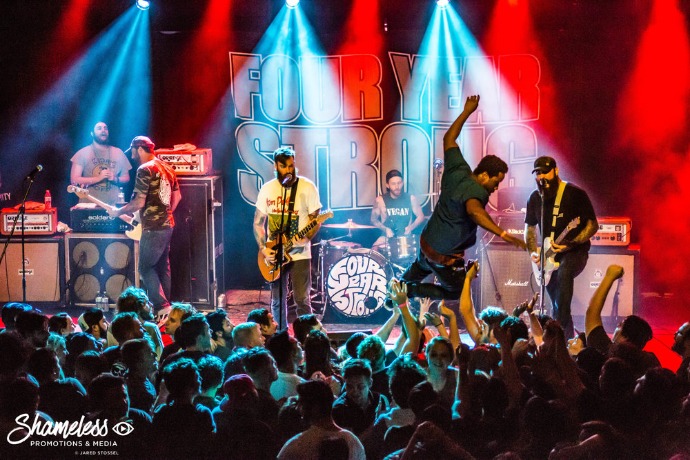 Four Year Strong performing at Cornerstone in Berkeley, CA. September 27, 2017. Photo: Jared Stossel