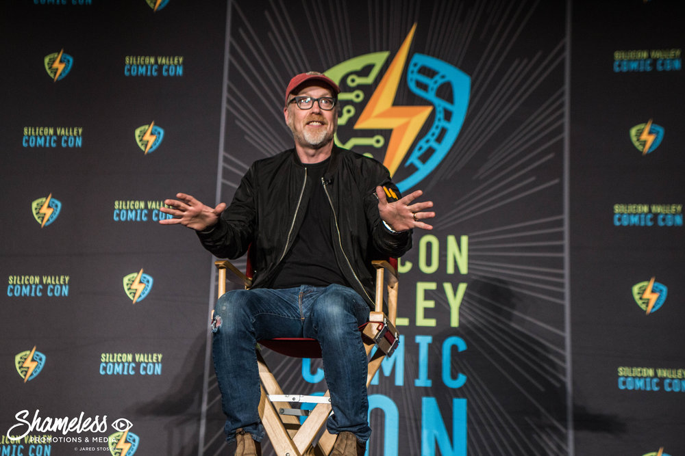 Adam Savage speaking at SVCC 2018: Photo Credit: Jared Stossel.