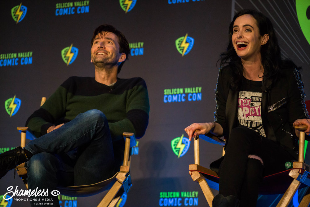 (Left to Right) David Tennant and Krysten Ritter speaking at SVCC 2018. Photo Credit: Jared Stossel.