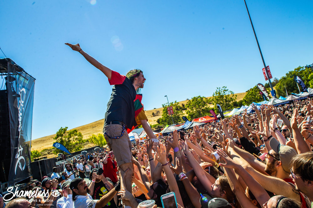 Nathaniel Motte of 3OH!3 performing at the last ever Bay Area Vans Warped Tour at Shoreline Amphitheatre in Mountain View, CA. June 23, 2018. Photo Credit: Jared Stossel.