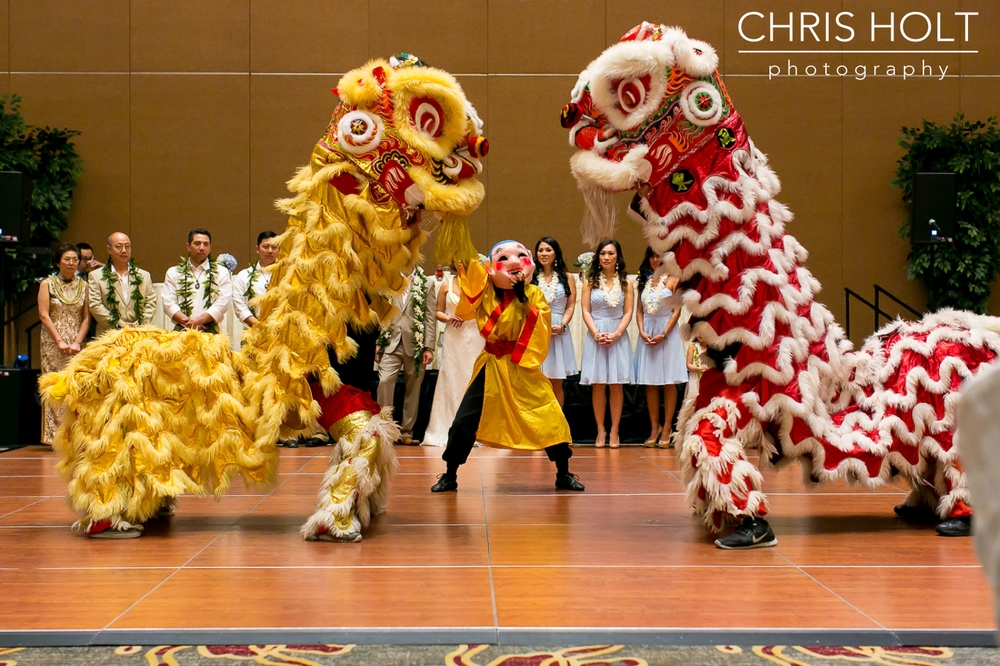 hilton los angeles, Chinese wedding, lion dance, reception