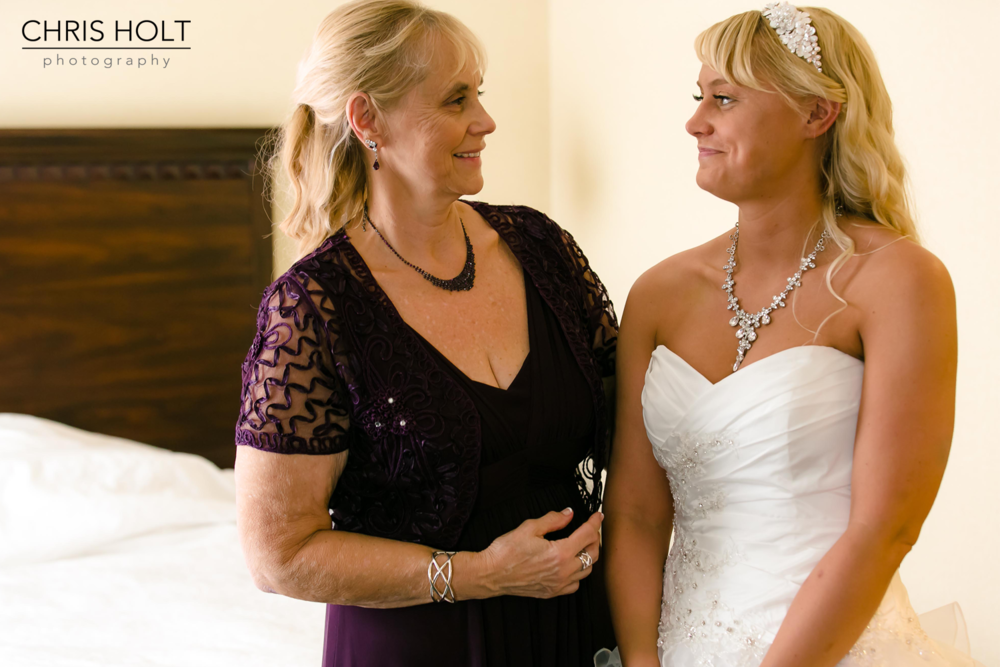 Mom and Daughter share a few moments right before wedding time