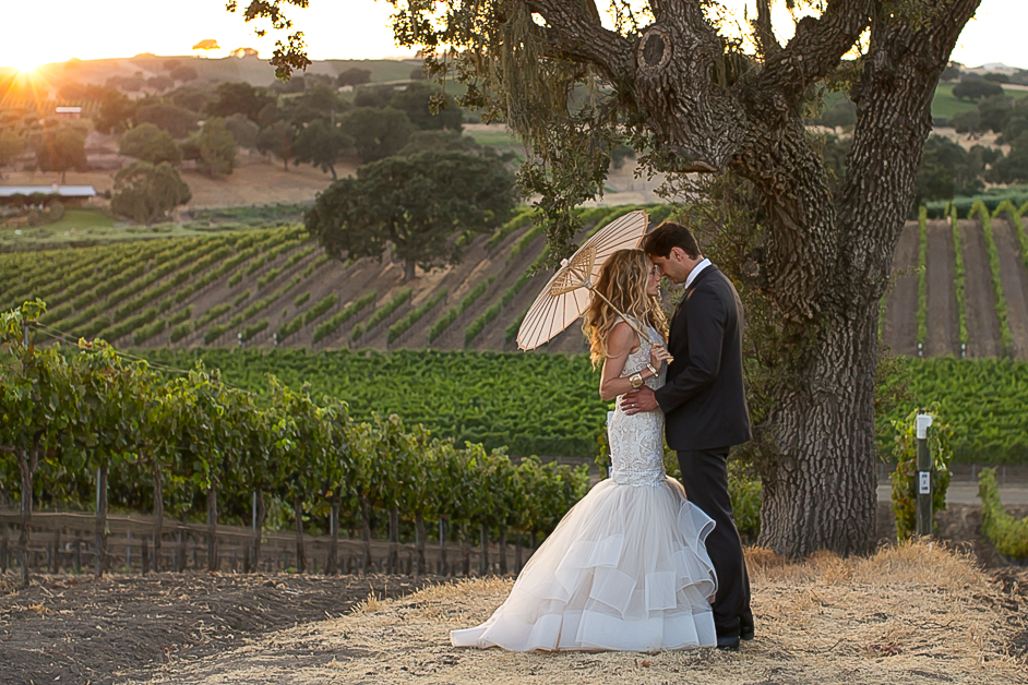 winery, romantic, sunset, Santa Barbara, Santa Ynez, Stolpman Vineyard, Private Estate, couple, wedding, husband, wife, bride, groom, los olivos