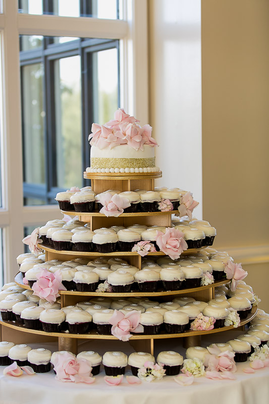 wedding cupcake tower at Summit House Restaurant in Fullerton, CA