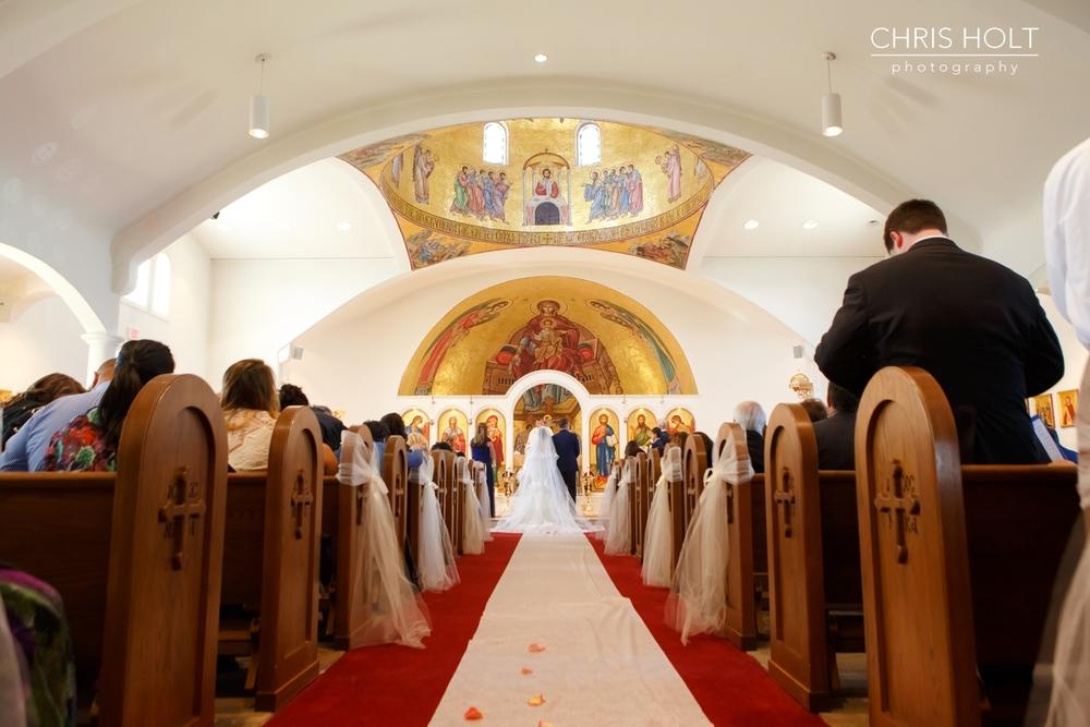 WEDDING, CEREMONY, ARCH, MURAL, GREEK, GREEK ORTHODOX, SANTA BARBARA GREEK ORTHODOX CHURCH, SANTA BARBARA, HYATT, BEAUTIFUL, CANDID, BRIDAL, GOWN, VEIL