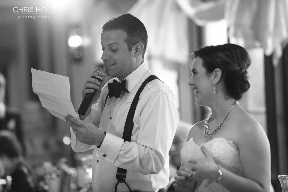RECEPTION, INDOOR, VENUE, GOLD, GREEK, GREEK ORTHODOX, SANTA BARBARA GREEK ORTHODOX CHURCH, SANTA BARBARA, HYATT, BEAUTIFUL, CANDID, ROMANTIC, TIMELESS, SPEECHES, HUSBAND, WIFE, BLACK AND WHITE