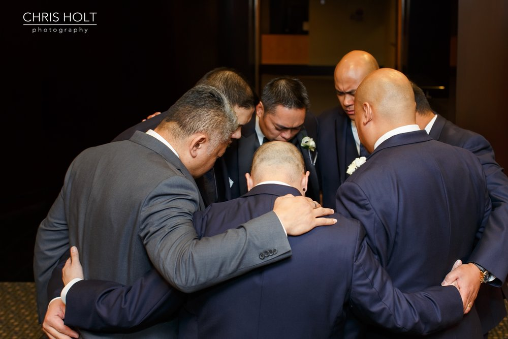 pacific palms, golf club, wedding venue, groom, preparation, getting ready, portrait, groomsmen, prayer, bridal party