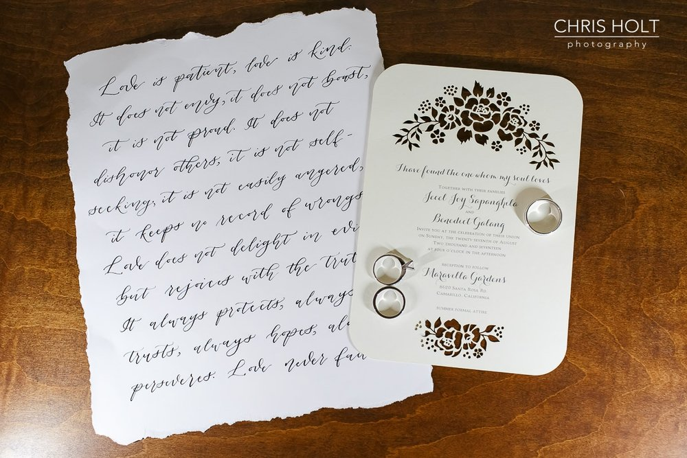 wedding ring, invitation, maravilla gardens, camarillo, photographers near me, chris holt