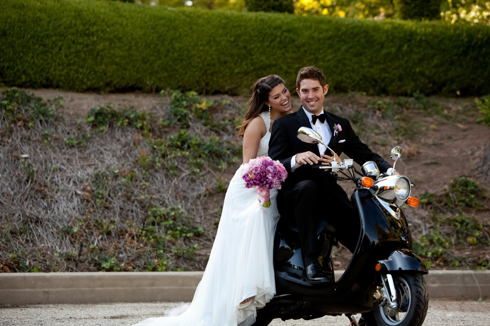 Ambassador Mansion Bride and Groom on a Scooter