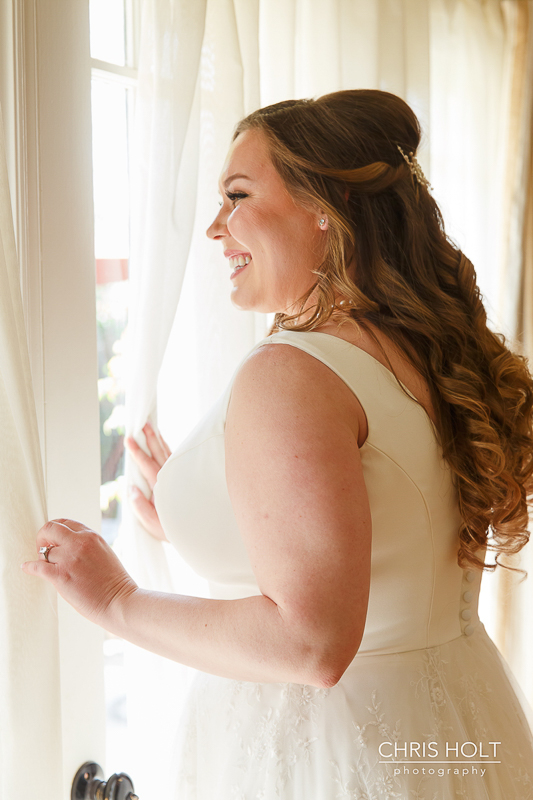 Pasadena Wedding bridal portrait in front of window