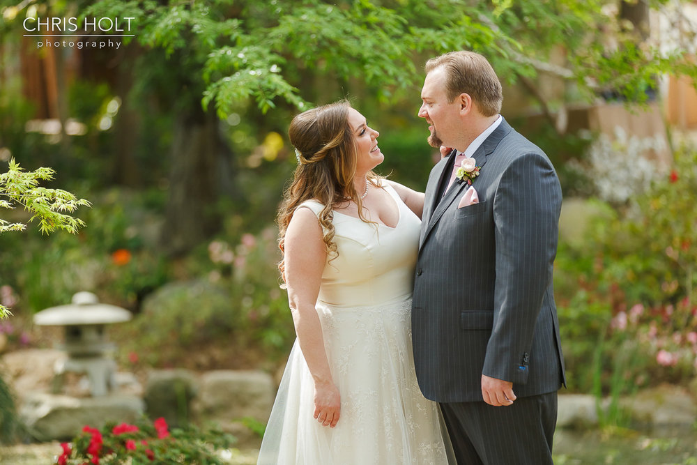 Bride and Groom Portraits at Storrier-Stearns Japanese Garden