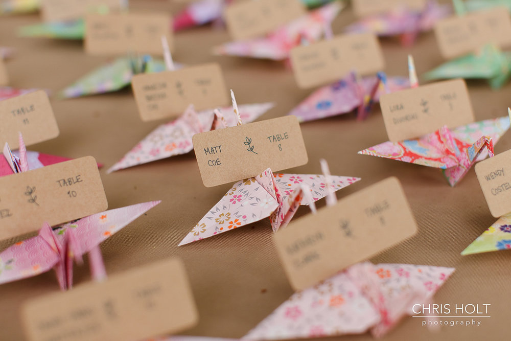 Origami crane escort cards at Storrier-Stearns Japanese Garden Wedding