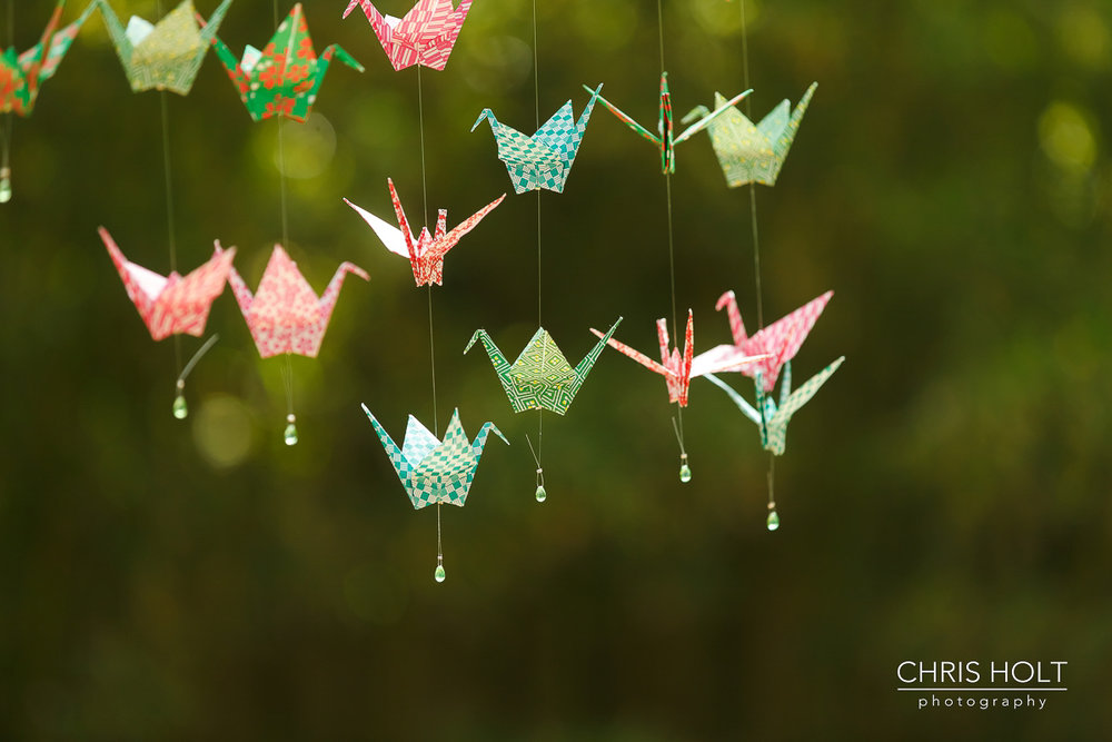 Origami crane wedding decor at Storrier-Stearns Japanese Garden Wedding