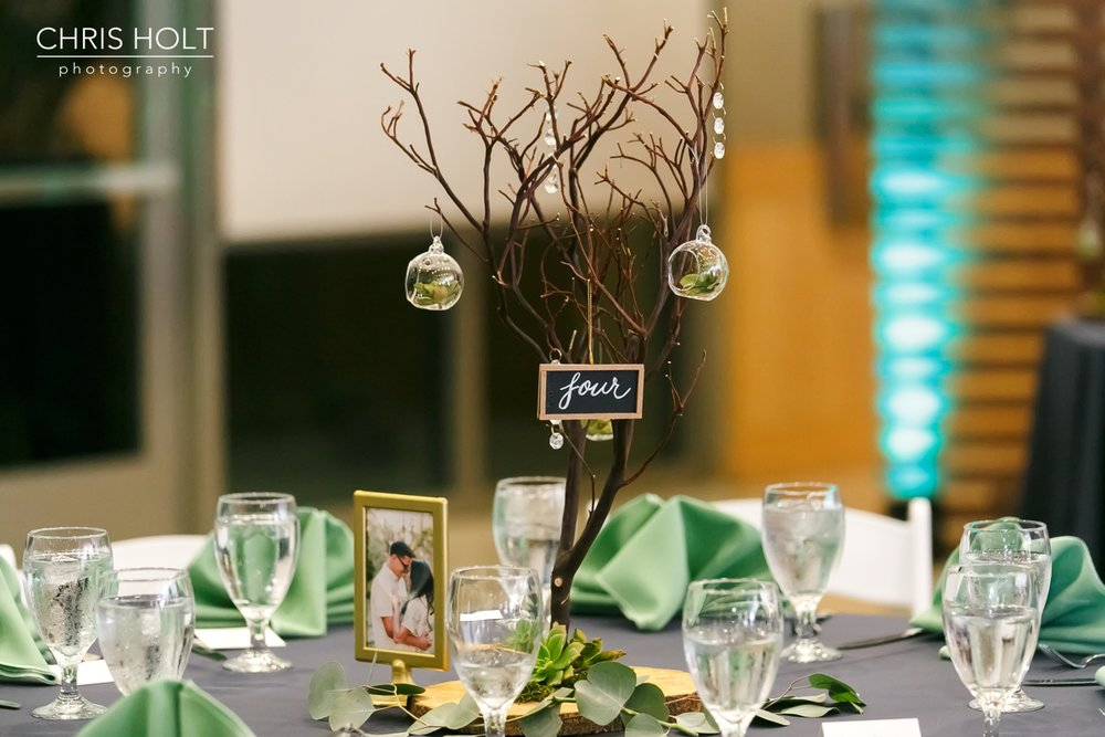 rustic reception centerpieces at Fullerton Community Center
