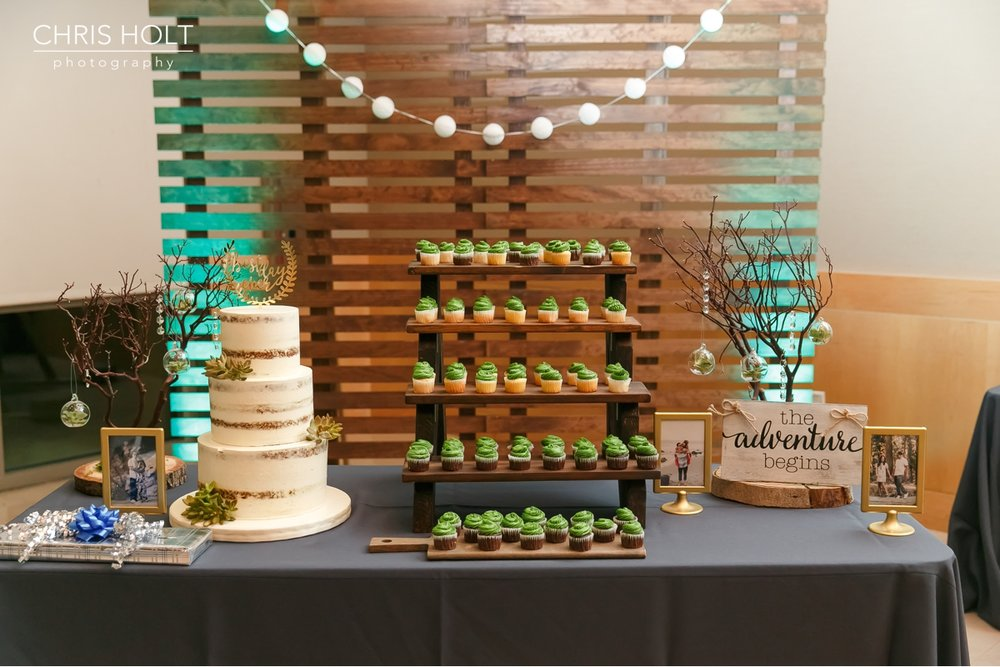 cake and cupcake table at Fullerton Community Center