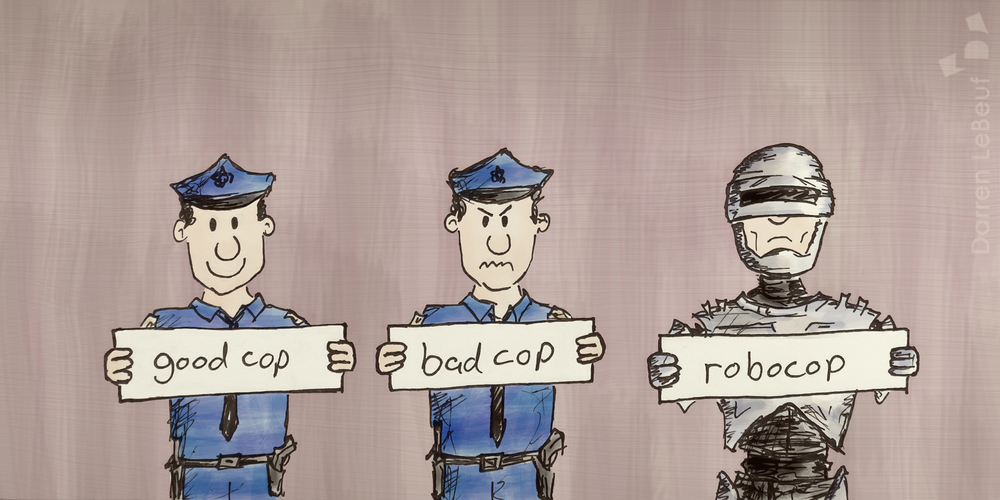 Good cop, bad cop (and robocop) - only at the Land of le Beef, by Darren Lebeuf