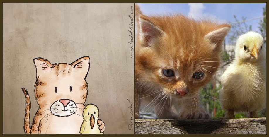 Unlikely animal best friends - kitten and chick. The Land of Le Beef comic strip, by Darren Lebeuf