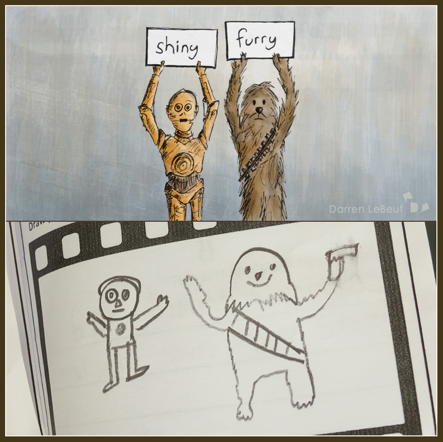 Art Adventure Day - cartooning. Chewbacca and C3PO - The Land of Le Beef, by Darren Lebeuf