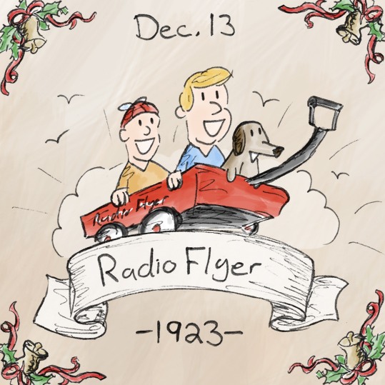 The company the produced that Radio Flyer originally made wooden      wagons in 1917, and after adopting automotive assembly line techniques, started making the classic red metal wagon that we've come to know and love today. Nearly 100 years later, the company (now named Radio Flyer) still produces wagons, as well as tricycles, scooters, and other great things.