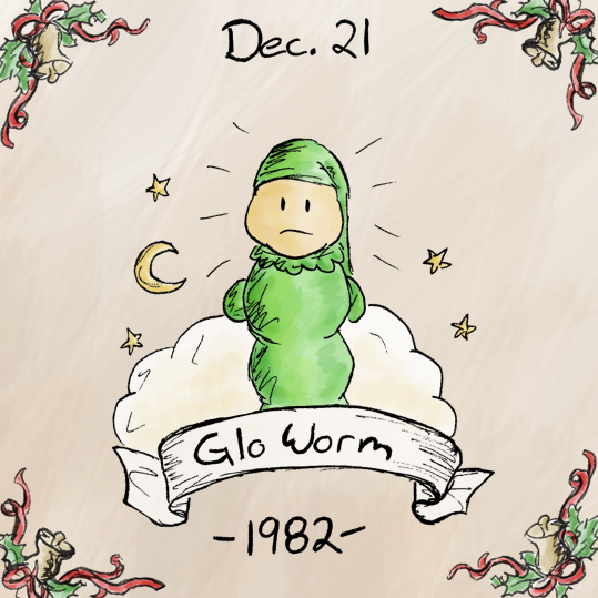 Glo Worms don't seem to have much of a history. Some dude had an idea for toy - it was a sleepy looking worm whose head would glow when you squeeze it. A bunch of executives sat around a table, took a vote, and decided that Glo Worms would become a become a reality.