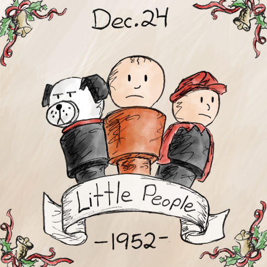 The Little People became popular in 1952 when they first came out. Originally they were made of cardboard, then upgraded to wood a few years later, and eventually moved to the plastic versions that most people have come   to know and love. In 1997 the look of Little People was changed dramatically, but they're not nearly as cool and retro looking.